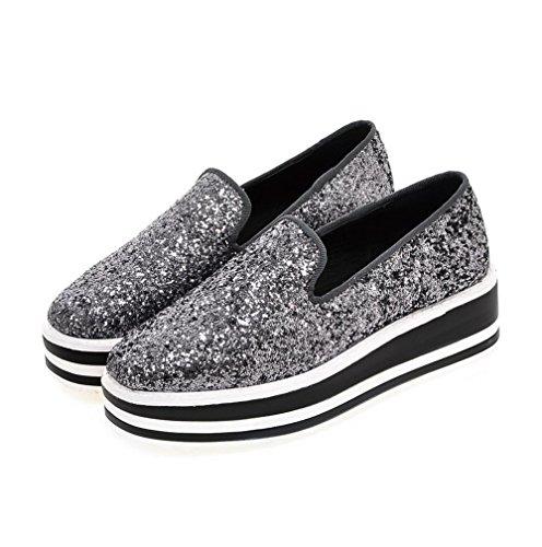 AllhqFashion Damen Ziehen auf Quadratisch Zehe Mittler Absatz Pailletten Rein Pumps Schuhe Silber