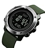 Rubber Strap Mens Watch Multifunction Sport Watch Green/Silver