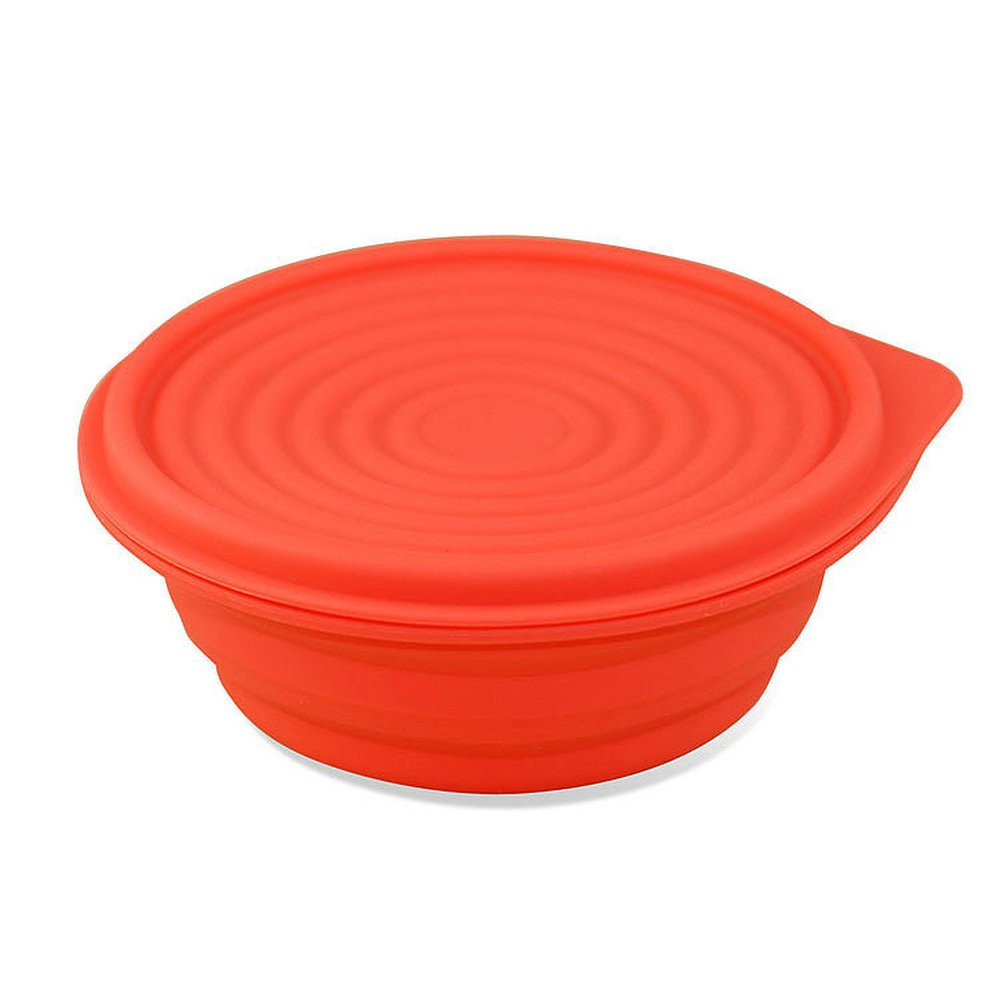Collapsible Food Grade Silicone Bowls with Lids, BPA-free, Camping, Traveling, Pets, Hiking, Expandable Portable Backpacking Bowl (2 PC) by LTFT (Image #2)