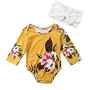 Emmababy Newborn Baby Girls Big Flowers Print Romper with Headband Long Sleeve Summer Jumpsuit Bodysuit (Yellow, 6-9M)