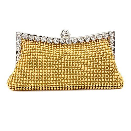Women Handbags Rhinestone Evening Bags Crystal Party Clutches Bag (Gold)