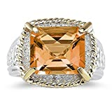 Smjewels 7.60 Ct Emerald Cut Yellow Citrine And Sim. Diamond Ring In 14K Two-Tone Plated