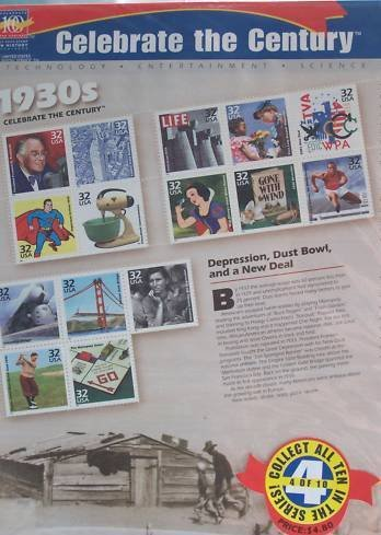 1930s Celebrate the Century Sheet of Fifteen 32 Cent Stamps Scott 3185 by - Sunglasses 1930
