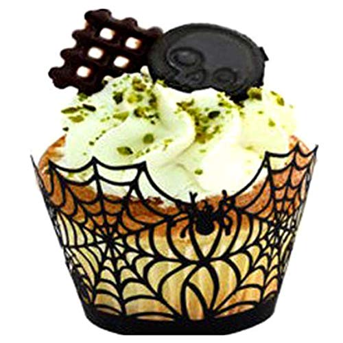 RUJFISH 50PCS Cupcake Lace Wrapper Halloween Liner Baking Muffins Case Trays Birthday Party Wedding Decoration -