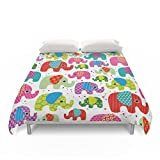 Society6 Colorful India Elephant Kids Illustration Pattern Duvet Covers King: 104'' x 88''
