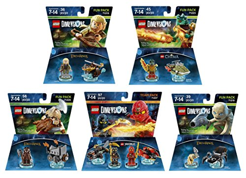 Ninjago Cole   Kai Team Pack   The Lord Of The Rings Legolas   Gimli   Gollum   The Legend Of Chima Cragger Fun Packs   Lego Dimensions   Not Machine Specific