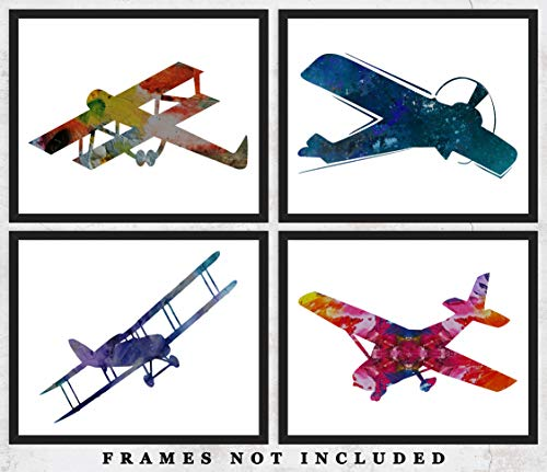 (Colored Airplanes Wall Art Prints: Adorable Nursery Room Decor - Set of Four (8x10) Unframed Pictures - Great Gift Idea for Nursery and Kids Room)