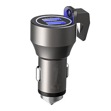 3 en 1 Dual USB coche cargador [carga rápida] con martillo de escape de emergencia y cortador de cinturón de seguridad, 36 W 4.8 a QC 2.0 cargador ...