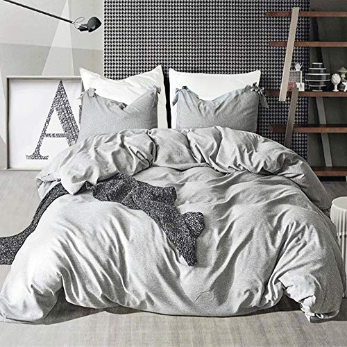 willstar 3 Pieces Duvet Cover Set Cotton Solid Color Modern Design Bedding Collection Set with Zipper Closure Super Soft (Grey, King)