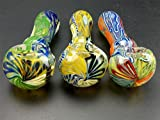 #4: Stunning Hand Crafted Handmade Chunky Glass Spoon Pipe Raised Swirl Design for Smoking