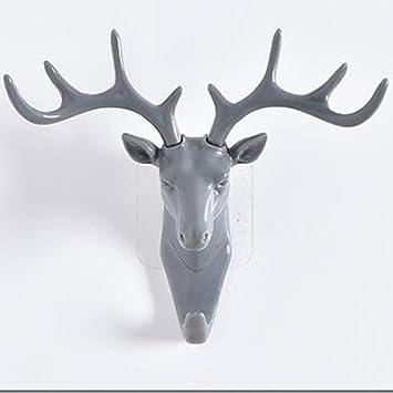 Cabeza de ciervo solo gancho de pared colgador de alce con ...