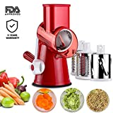 Vegetable Mandoline Chopper,SIDOUHAK 3-Blades Manual Vegetable Slicer,Efficient and Fast Vegetablse Shredder, Veggie Pasta Salad Maker, Speedy Rotary Drum Grater Slicer with Strong-Hold Suction Cup