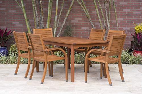 Rectangular Set Table Teak Dining (Amazonia Arizona 7-Piece Eucalyptus Rectangular Dining Set)