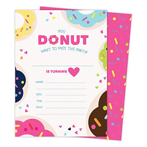 Donut Style 1 Happy Birthday Invitations Invite Cards (25 Count) With Envelopes & Seal Stickers Boys Girls Kids Party