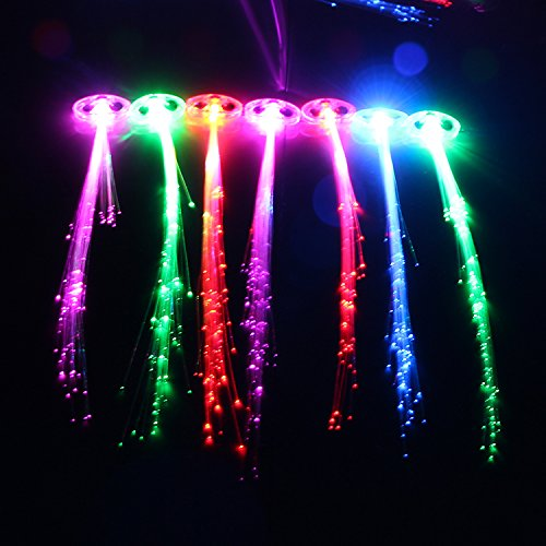 Ezerbery 15 Pack LED Color Changing Fiber Optic Hair Lights Barrettes Light Up Party Favors Glow Toys Supplies