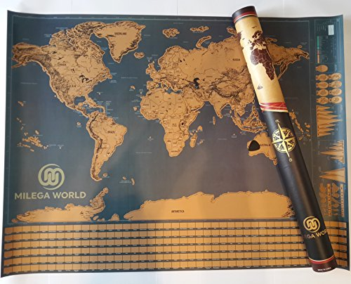 Scratch Off World Map With Flags Including Scratcher - Scratcher Tool