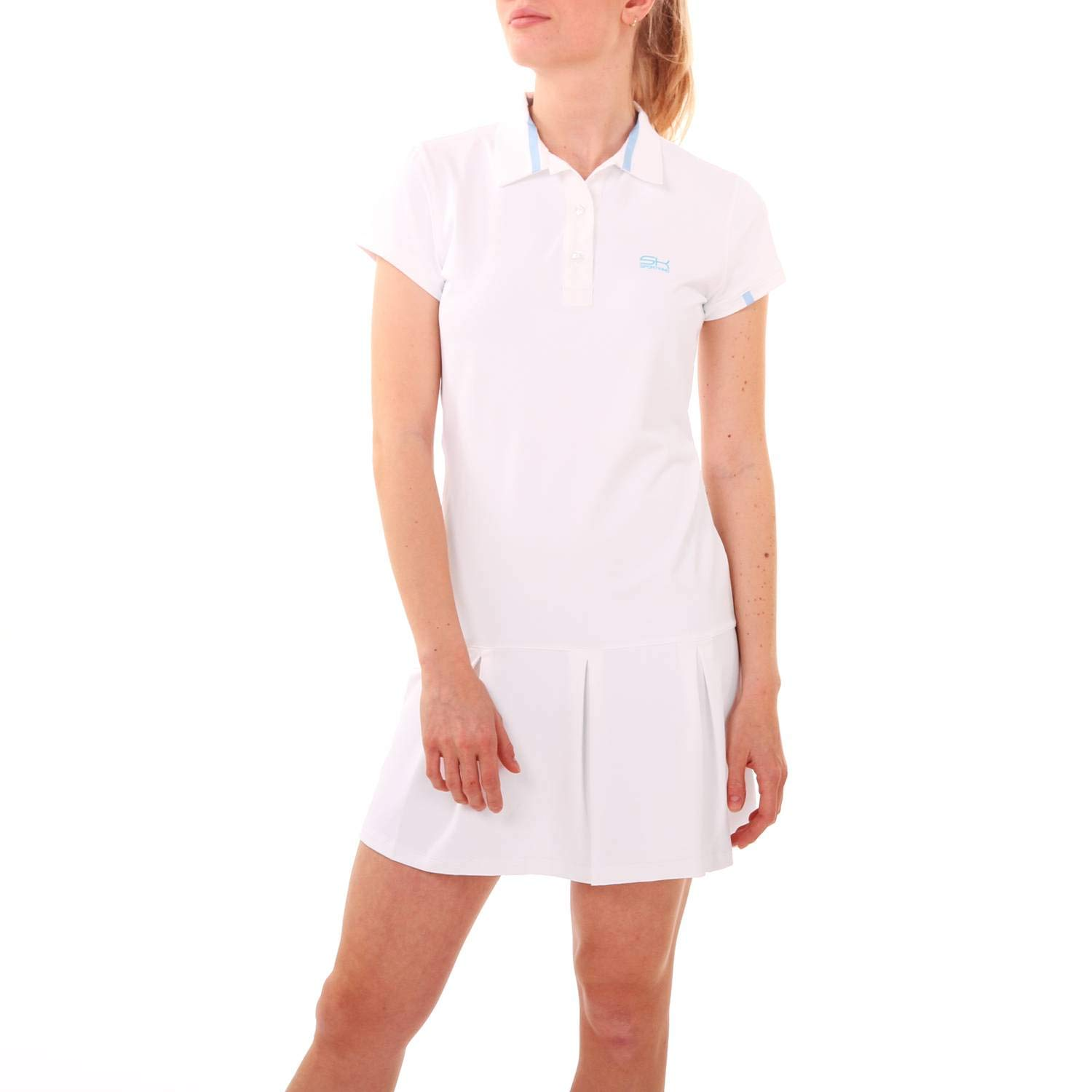 SPORTKIND Girls /& Ladies Sleeveless Pleated Tennis UPF 50+ Sun Protection Quick Dry Breathable Sailing Golf Leisure Polo Dress
