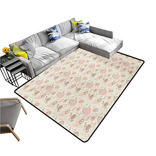 (Outdoor Kitchen Room Floor Mat Vintage,Pastel Colored Bird Butterfly and Flower Outlines with Ornamental Swirls,Rose Sepia Beige 60
