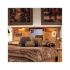 Queen Wooden Headboard Bookcase Mirror Bedroom Bedding Furniture Home Decor Sale