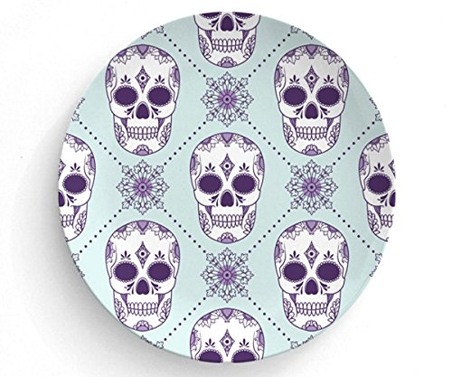 "Purple Sugar Skulls, Melamine Plate, Skull Plate, Melamine Plate, decorative plate, Dinner Plate, 10"" plate, Sugar skull design, Skull home decor"