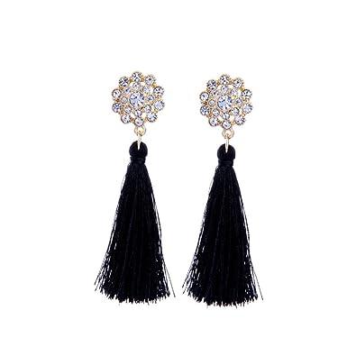 2044733380a3c7 Tengkou Silk Fringe Thread Black Tassel Earrings Bohemia Flower Rhinestone  Dangle Earrings for Women