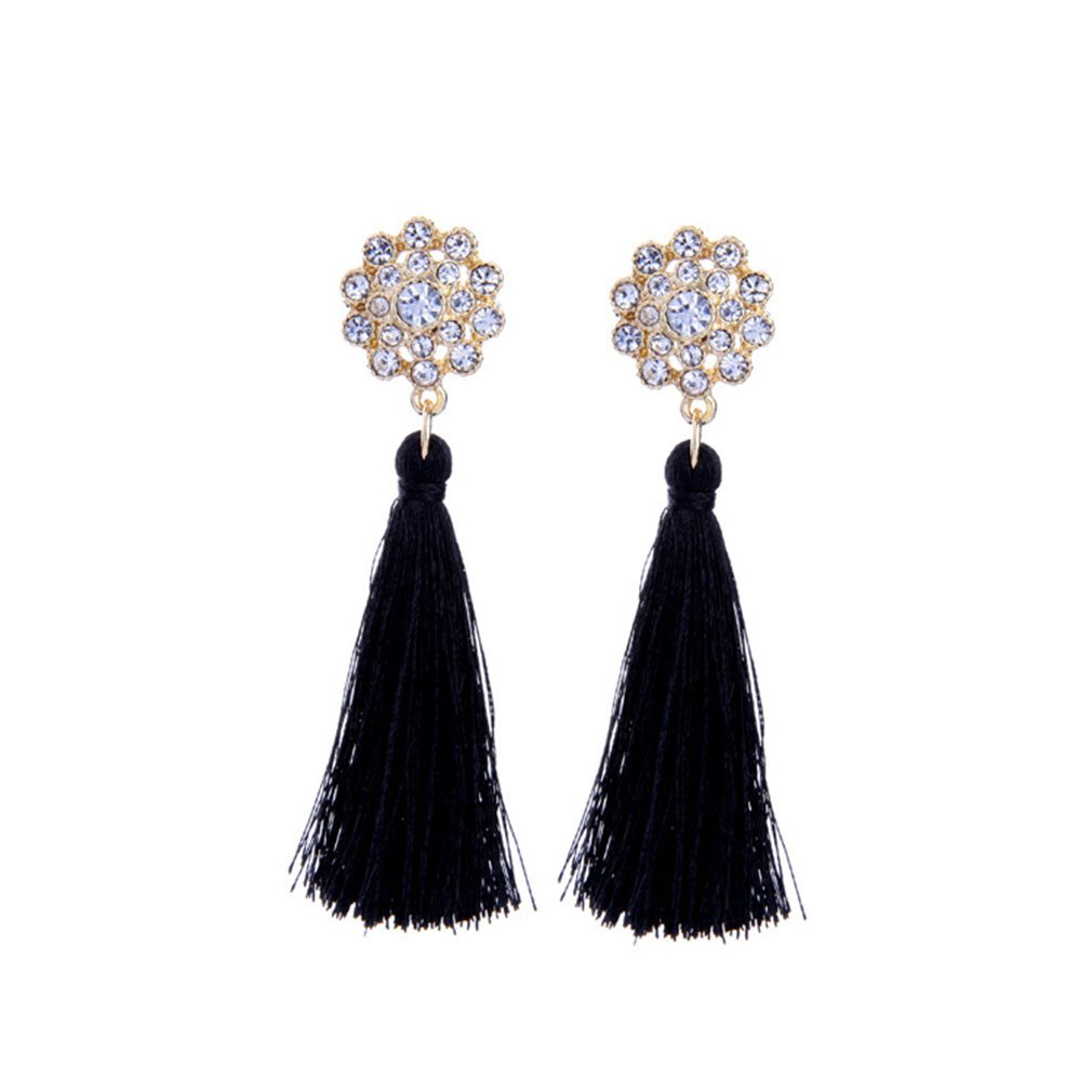 Tengkou Bohemia Long Silk Fringe Thread Flower Rhinestone Black Tassel Earrings for Women Ethnic Drop Dangle Earrings Jewelry