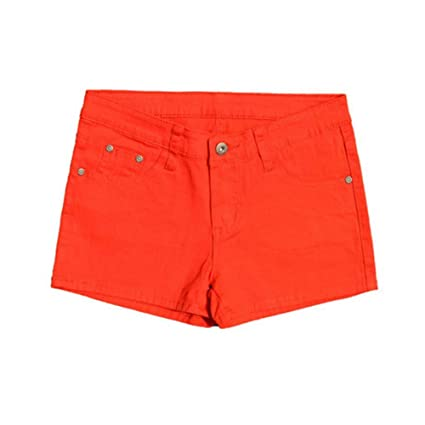 Short Femme,La Femme Orange Shorts Denim