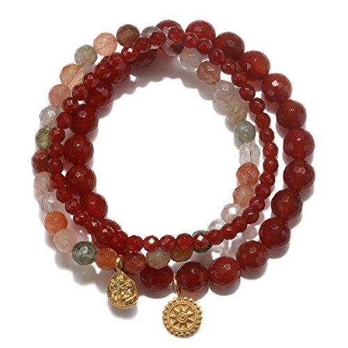 Satya Jewelry Women's Carnelian & Rutilated Quartz Gold Ganesha Mandala Stretch Bracelet Set, Orange, One Size
