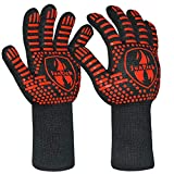 BBQ Grill Gloves 1472℉ Extreme Heat Resistant Barbecue Grilling Gloves for Smoker Silicone Non-Slip Barbeque Gloves for Baking Welding,14 Inch by SUNRICH