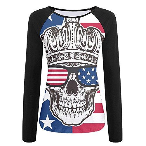 Women American Crown Skull In Sunglasses Raglan Baseball T-Shirts 3/4 Sleeve Baseball Tees XXL