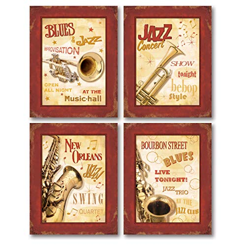Jazz Concert Poster - Vintage New Orleans Jazz and Blues Show Signs; Four 8x10in Poster Prints. Red/Cream