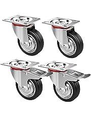 Yaheetech 4 stuks transportwielen, meubelwielen, looprol, zware zwenkwielen, zwenkwielen, rubberen wielen, draagkracht max. 180 kg, wielen met rem, 75 mm