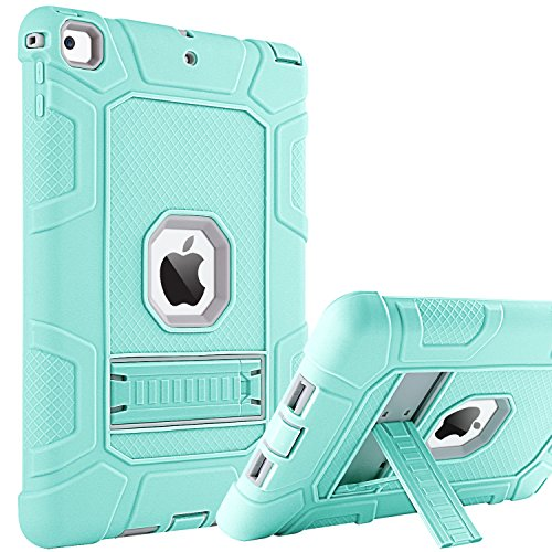 iPad 9.7 2017/2018 Case, BENTOBEN 3 Layer Full Body Heavy Duty Soft Silicone Rubber Rugged Bumper Hard PC Shell Protective Kids Case Cover with Kickstand for Apple iPad 9.7 Inch, Mist Blue/Gray