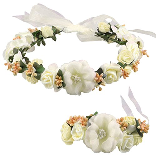 Flower Crown Wedding Hair Wreath Floral Headband Garland Wrist Band Set (Beige)