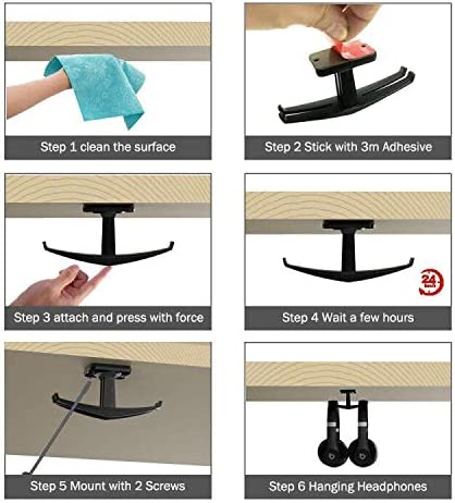 Desk Headphone Stand Mount with 360 Degree Rotation Mouow The Anchor Under