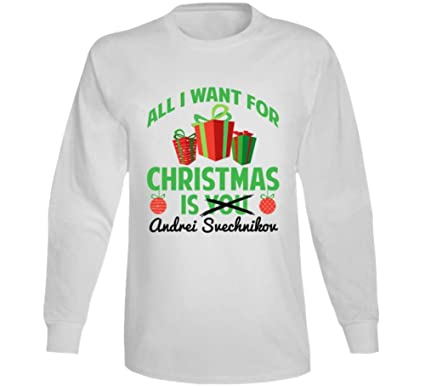 dc7c3655 All I Want for Christmas is Andrei Svechnikov Carolina Hockey Fan Long  Sleeve T Shirt S