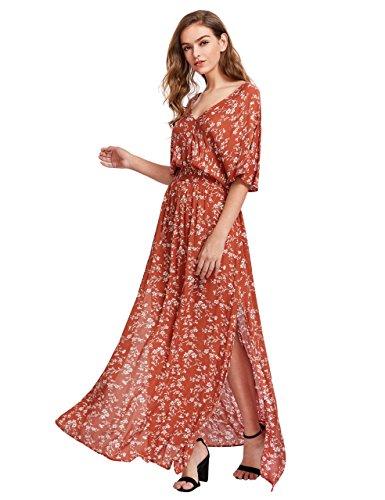 - Milumia Women's Boho Split Tie-Waist Vintage Print Maxi Dress (Medium, Orange-Red)