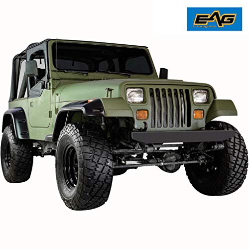 EAG Front + Rear Fender Flare Wheel Cover Trim Pocket Rivet Style Fit for 87-95 Jeep Wrangler YJ