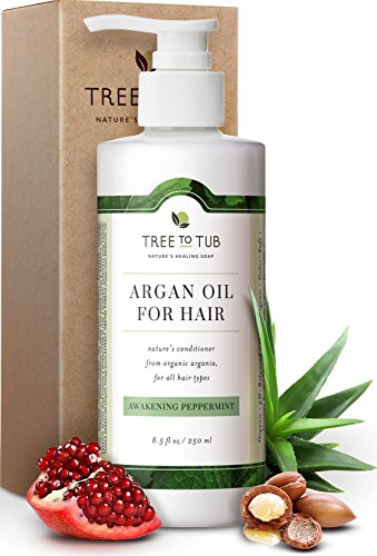 Real, Argan Conditioner For Dandruff and Oily Hair, by Tree To Tub. The Only pH 5.5 Balanced Peppermint Deep Conditioner For Damaged Hair and Sensitive Scalp With Organic Wild Soapberries, 8.5 oz