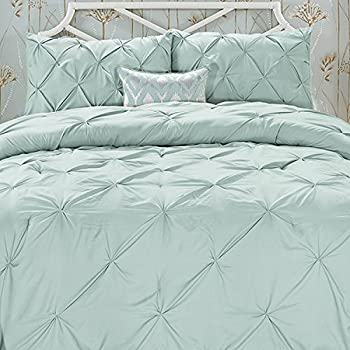 Elegant Comfort Wrinkle Resistant - All Season Luxury Silky Soft Pintuck 3-Piece Comforter Set - Full/Queen, Misty Blue