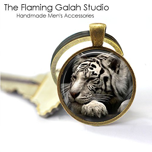 Tiger Arctic (Arctic Tiger Key Ring • White Tiger • Stunning Tiger • Unusual Tiger • Big Cat Lover • Key Chain • Keyring • Key Fob • Gift Under 20 - Antique Bronze or Silver • Made in Australia)