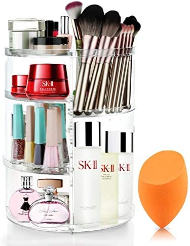 Mokaro 360 Degree Rotating Makeup Organizer for Christmas Gifts Extra Large Capacity Adjustable Multifunctional Cosmetic Storage Box for Skin Care Products Makeup Sponges (Clear)