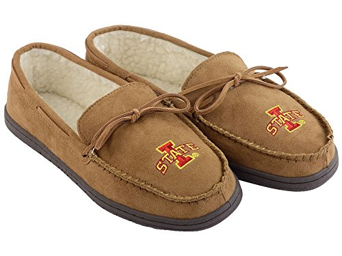 FOCO NCAA Iowa State Cyclones Mens College Team Logo Moccasin Slippers ShoesCollege Team Logo Moccasin Slippers Shoes, Tan, Large (11-12)