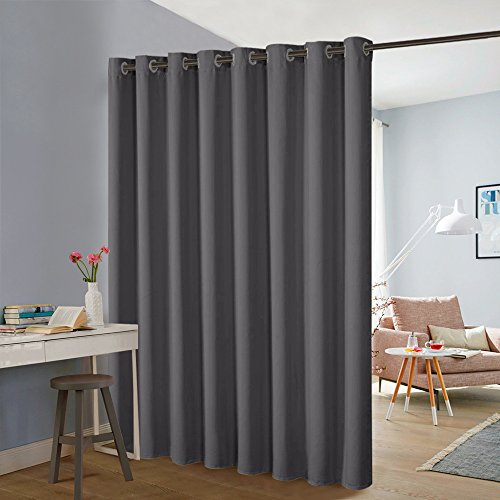 PONY DANCE Curtain Screen Partitions - Room Divider Privacy Blinds Premium Heavyweight Blackout Curtain Drapes with Grommet Chrome Top for Sliding Door, 1 Panel, 15ft Wide x 8ft Long, Grey