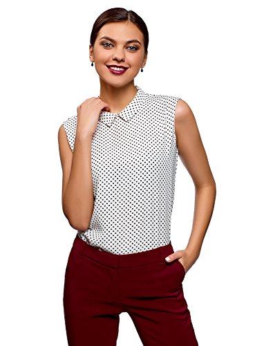 (oodji Ultra Women's Basic Top in Flowing Fabric, White, 8)