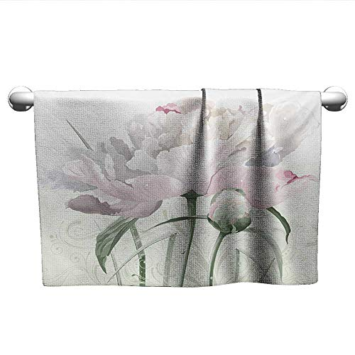 alisoso Flower,Wholesale Towels Floral Pink Roses Tulips Abstract Garden Leaves with Petals and Buds Detailed Print Image 3D Digital Printing White W 35