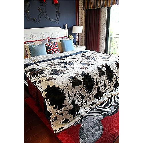 Tache Home Fashion DaDa Bedding Soft Warm Cow Print Sherpa Faux Fur  50 Inch By 60 Inch Throw Blanket