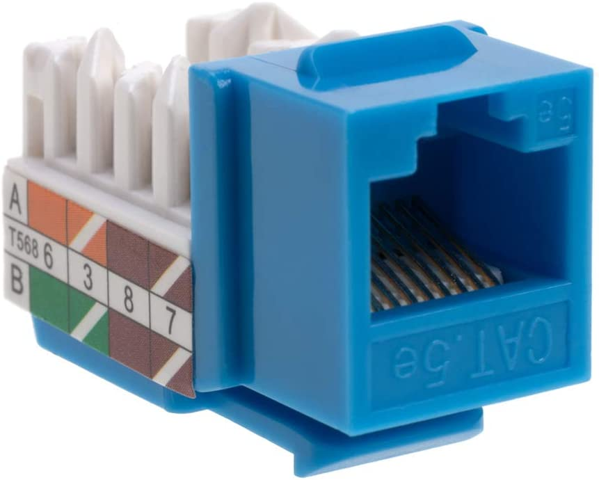 Cat5 RJ45 Keystone Jack Cat5e Punch-Down Network Blue (50)