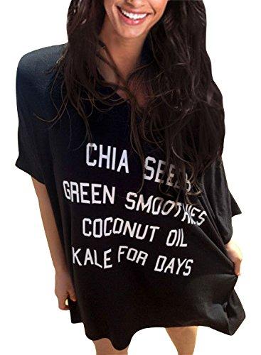 Rainlover Womens Letters Print Baggy Swimwear Bikini Cover-ups beach Dress (Black-1)