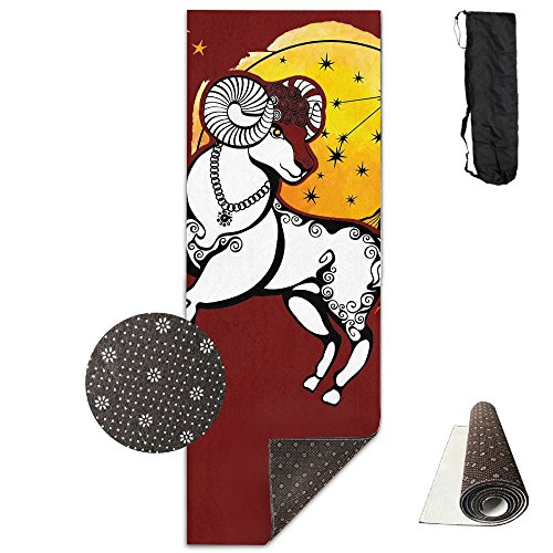 Non Slip Yoga Mat Aries Constellations Premium Printed 24 X 71 Inches Great For Exercise Pilates Gymnastics Carrying Strap